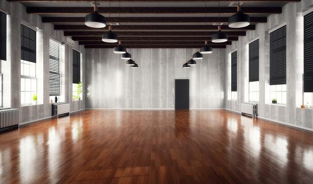 Empty loft interior with wooden floor and big windows.