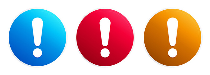 Exclamation mark icon premium trendy round button set