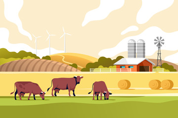 Agriculture industry, farming and animal husbandry concept. Summer rural landscape with cows, fields and farm. Vector illustration. Fotomurales