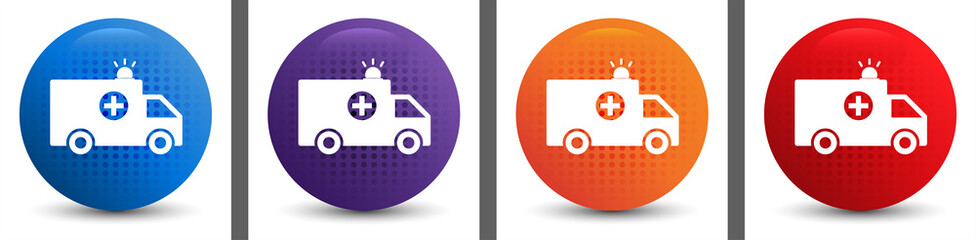 Ambulance icon abstract halftone round button set
