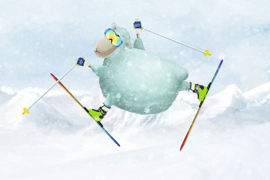 Cartoon sheep skiing, make a happy jump- trick in the air. Winter comic illustartion
