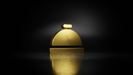 gold metal symbol of concierge bell 3D rendering with blurry reflection on floor with dark background