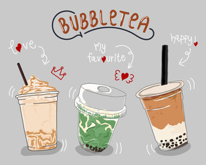 Collection design of bubble tea cup, Pearl milk tea. Vector