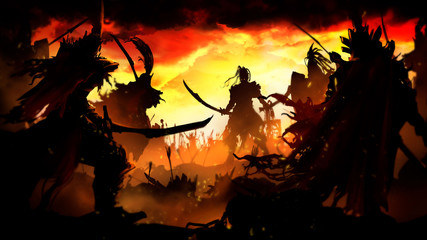 Battle of two armies in the center of the Orc warrior surrounded on all sides by knights with long swords, behind him a Horde of warriors with spears and swords, against the background of a bright yel Wall mural