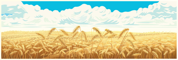 Rural landscape with wheat field and a blue sky with clouds on background. Vector illustration. Wall mural