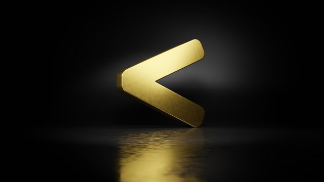 gold metal symbol of less than 3D rendering with blurry reflection on floor with dark background
