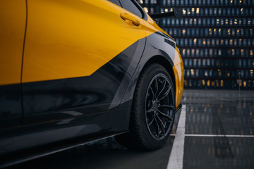Modern supercar car rear fender and wheel