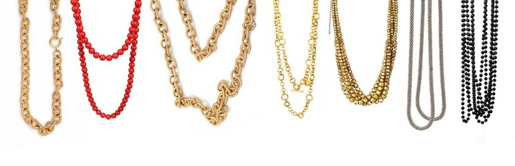 Set of necklaces isolated on a white background