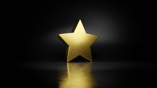 gold metal symbol of star  3D rendering with blurry reflection on floor with dark background
