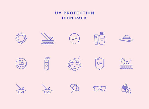 Skin care line icons. Sunscreen, UV Defence Vector Thin Line Icons. Sunscreen, Suntan Rules Linear Illustrations. Summer, Seaside Vacations Cosmetics.
