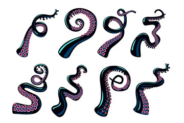 Octopus tentacles set. Vector design elements collection on isolated white background. Cartoon style color clip art.