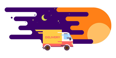 fast shipping delivery service truck illustration