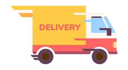 Quick delivery service truck flat illustration