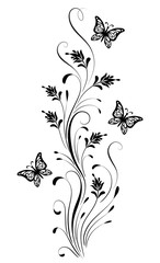 Wall Mural - Vintage ornament with butterfly for greeting card isolated on white background