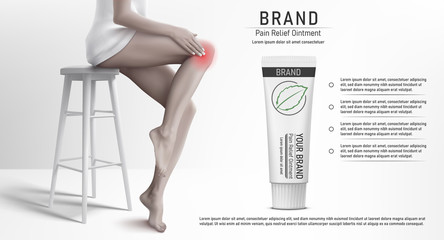 Discoloured Illustration with woman that sitting on the stool, rubbing her knee and suffering from pain in knee with the pain relief ointment tube mockup. Vector illustration.