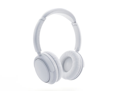 3d rendered object illustration of an abstract white headphones