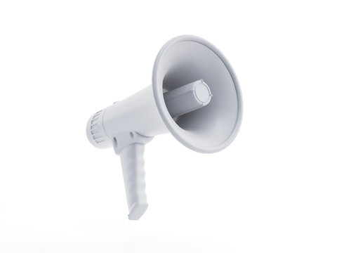 3d rendered object illustration of an abstract white megaphone