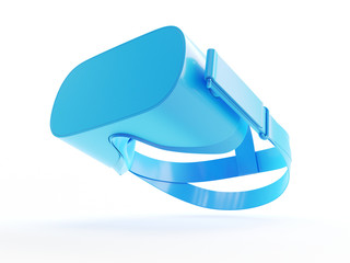 3d rendered object illustration of an abstract blue vr headset