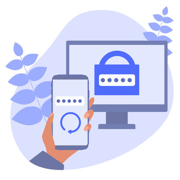 Two-factor authentication mobile app. RSA token mobile app. Cryptosystem for security. Two-factor authentication software. Vector concept illustration.