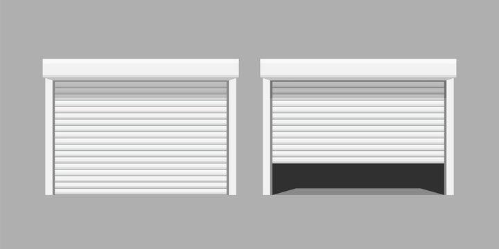 white garage doors on grey baclground