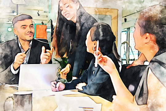 Abstract business persons meeting for teamwork on watercolor illustration painting background.