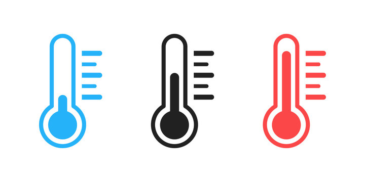 Thermometer isolated vector icon . Weather icon with different levels. Measuring tool.