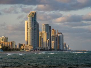 Panorama of Sunny Isles Beach city in Greater Miami area, Florida, USA