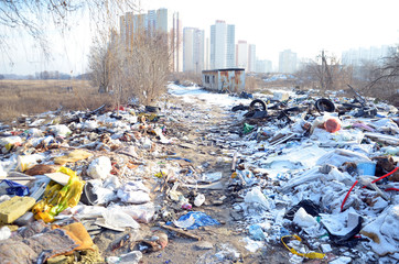 Deurstickers Oost Europa Winter landscape.Ecology of Ukraine. Nature near Ukrainian capital. Environmental contamination. Illegal junk dump. Kiev,Ukraine