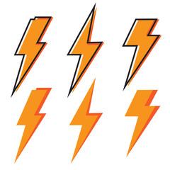 Thunder icon. Bolt Lighting flash Icons