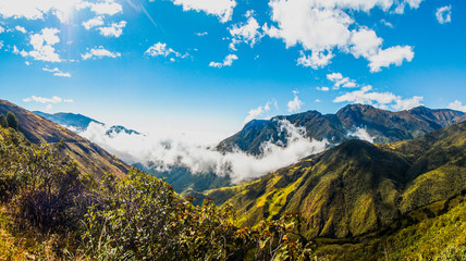 Beautiful landscape of foggy mountain in Ecuador
