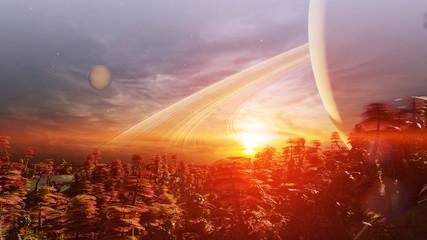 Spoed Fotobehang Bleke violet sunrise on an alien world, forest landscape on the surface of an exoplanet