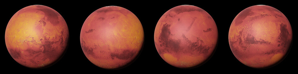 planet Mars, the red planet from all sides isolated on black background Fotomurales