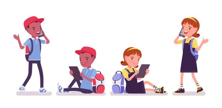 School boy, girl with gadgets, smartphone, tablet. Cute small children talking on phone, active young kids, smart elementary pupils aged between 7, 9 years old. Vector flat style cartoon illustration