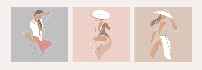 Feminine concept design template and illustration. Woman in minimal linear style Fashion illustration by femininity, beauty and modern art. Abstract poster and t-shirt print Vector illustration Fototapete