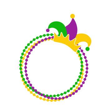 Monogram Mardi Gras svg files Jester Hat Beads clipart Fat Tuesday decor