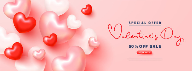 Fototapeta Valentine's Day sale advertising banner. Festive background with 3D hearts .Vector illustration for promotional materials, brochures, posters, website, advertising and other. obraz