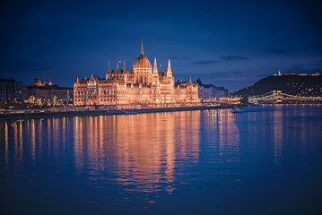 The famous Hungarian Parliament in Budapest in dusk