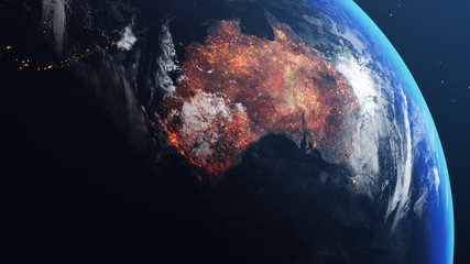 3D illustration of Earth globe with map of australia all burnt and on fire