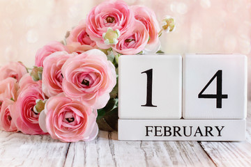 Wall Murals Floral White wood calender blocks and pink ranunculus with the date February 14 for Valentines Day. Selective focus with a blurred background.