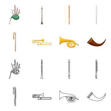 Vector design of concert and classical logo. Set of concert and equipment stock vector illustration.