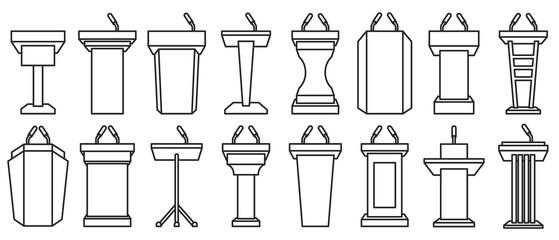 Podium of tribune line vector illustration on white background . Rostrum and podium set icon.Isolated vector illustration icon tribune with microphone. - fototapety na wymiar