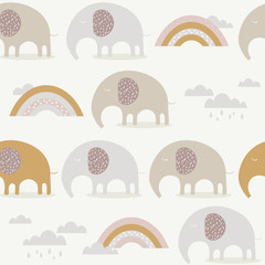 Happy elephants, hand drawn backdrop. Colorful seamless pattern with animals, sky. Decorative cute wallpaper, good for printing. Overlapping background vector