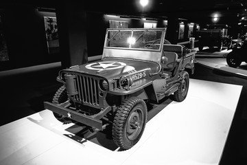 Willys MB 1944. U.S. Army Truck. All terrain vehicle of the Second world war. Retro car on exhibition. Classic Car exhibition - Heydar Aliyev Center, Baku, Azerbaijan - 26,04,2017