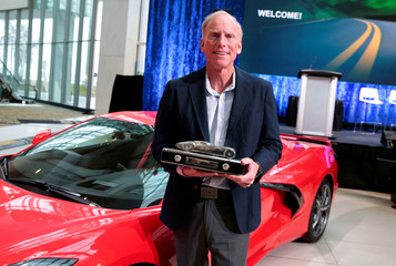 Tadge Juechter, Chief Engineer of General Motors Corvette, holds the 2020 North American Car of the Year trophy for the 2020 Corvette in Detroit