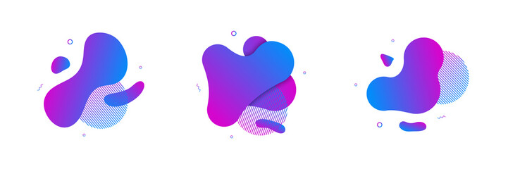 Vector fluid isolated abstract geometric blue and purple gradient shapes for modern website and graphic design on the white background. Concept of dynamic composition and liquid color element. Wall mural