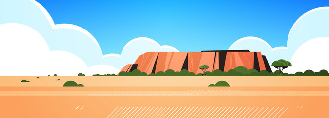 Fotobehang Wit rocky mountain australia dry grass rocks and trees wild nature landscape background horizontal vector illustration