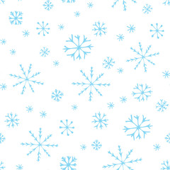 Winter doodles hand drawn snowflakes seamless pattern. Cute, simple vector snowflakes for postcard and poster graphic design for textile, wrapping paper, hand drawn style christmas winter backgrounds.