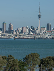 Auckland New Zealand. Skyline with tv-tower and bridge