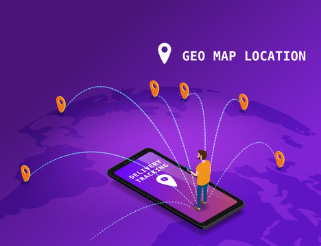 Global tracking system Delivery service online isometric design with smartphone, user man, markers, boxes on map Earth