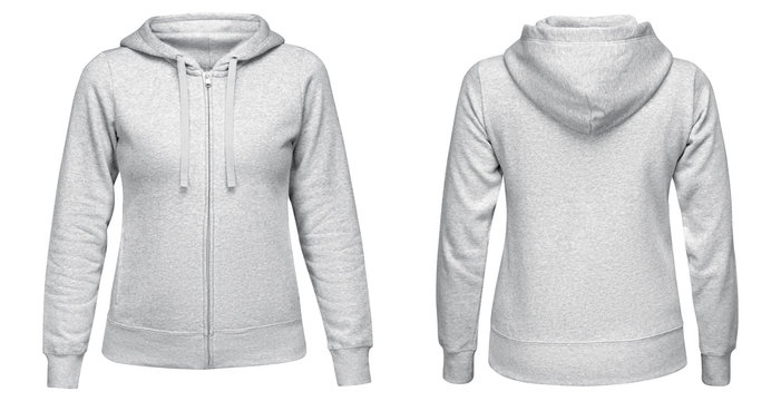Gray female hoodie sweatshirt with zipper and long sleeve, women hoody with hood for your design mockup for print, isolated on white background. Template sport pullover front and back view
